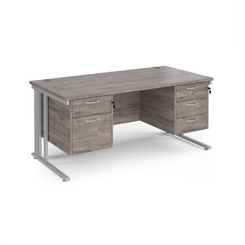 Maestro 25 straight desk 1600mm x 800mm with 2 and 3 drawer pedestals - silver cable managed leg frame and grey oak top