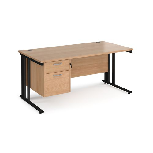 Maestro 25 straight desk 1600mm x 800mm with 2 drawer pedestal - black cable managed leg frame and beech top
