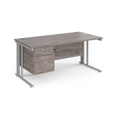 Maestro 25 straight desk 1600mm x 800mm with 2 drawer pedestal - silver cable managed leg frame and grey oak top