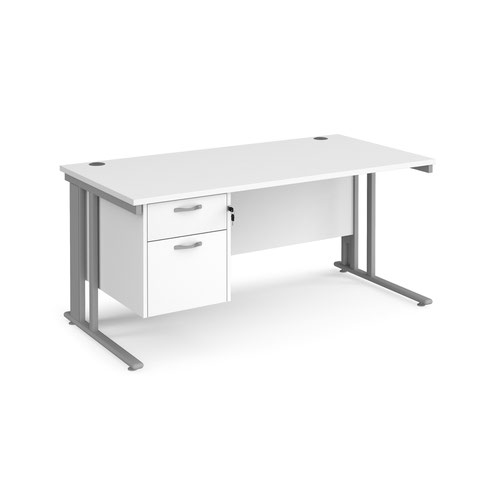 Maestro 25 cable managed 800mm deep desk with 2 drawer ped