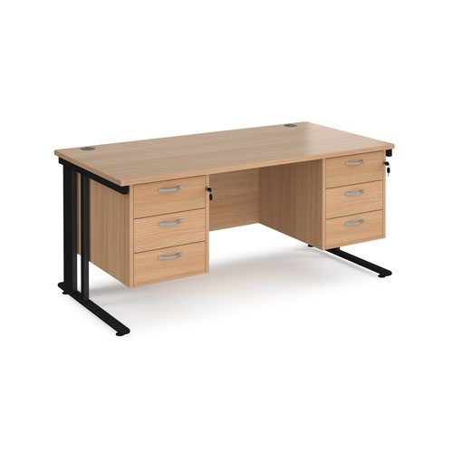 Maestro 25 straight desk 1600mm x 800mm with two x 3 drawer pedestals - black cable managed leg frame and beech top