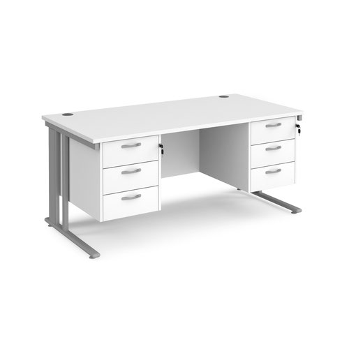 Maestro 25 straight desk 1600mm x 800mm with two x 3 drawer pedestals - silver cable managed leg frame and white top
