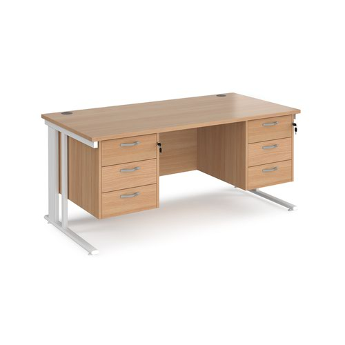 Maestro 25 straight desk 1600mm x 800mm with two x 3 drawer pedestals - white cable managed leg frame and beech top