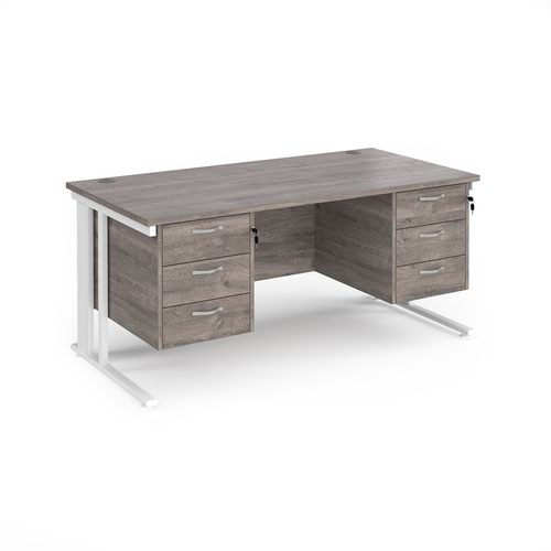 Maestro 25 straight desk 1600mm x 800mm with two x 3 drawer pedestals - white cable managed leg frame and grey oak top