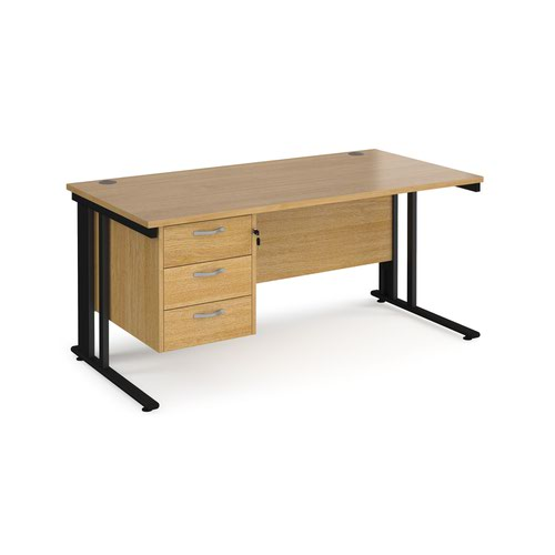 Maestro 25 straight desk 1600mm x 800mm with 3 drawer pedestal - black cable managed leg frame and oak top