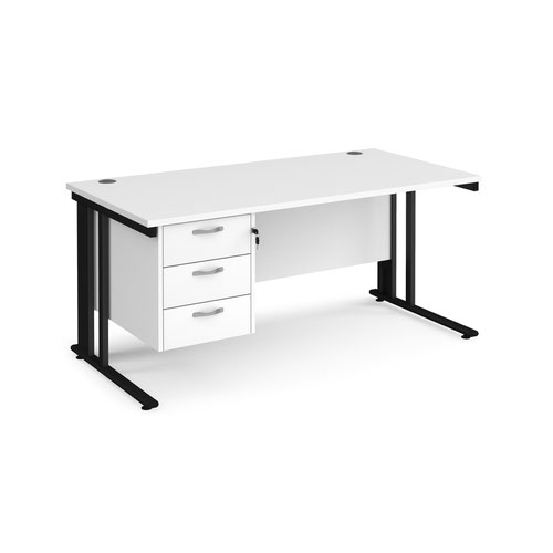 Maestro 25 straight desk 1600mm x 800mm with 3 drawer pedestal - black cable managed leg frame and white top