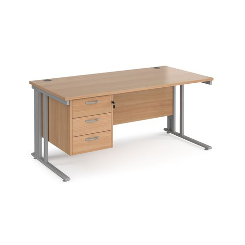 Maestro 25 straight desk 1600mm x 800mm with 3 drawer pedestal - silver cable managed leg frame and beech top