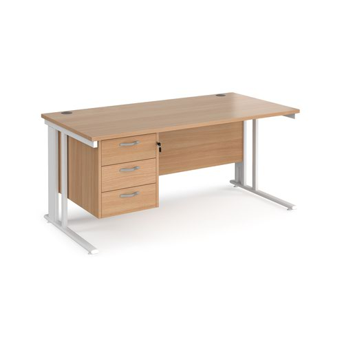 Maestro 25 straight desk 1600mm x 800mm with 3 drawer pedestal - white cable managed leg frame and beech top