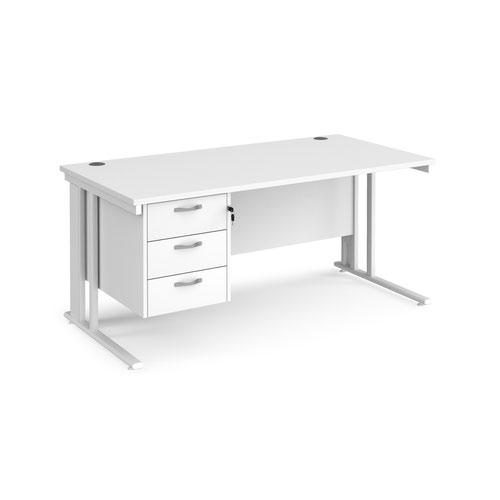 Maestro 25 straight desk 1600mm x 800mm with 3 drawer pedestal - white cable managed leg frame and white top
