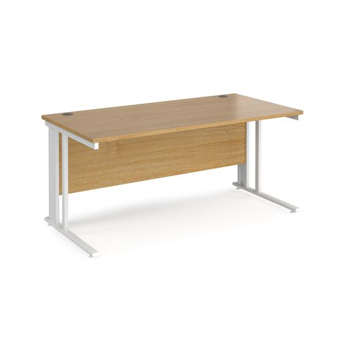 Maestro 25 straight desk 1600mm x 800mm - white cable managed leg frame and oak top