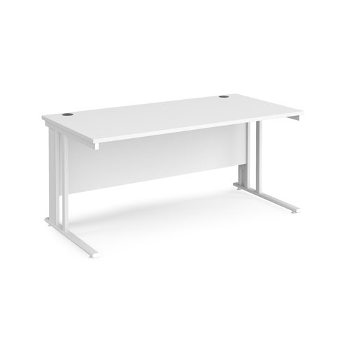 Maestro 25 straight desk 1600mm x 800mm - white cable managed leg frame and white top