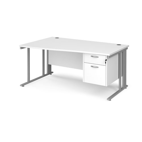 Maestro 25 cable managed left hand wave desk with 2 drawer ped