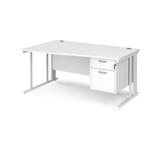 Maestro 25 left hand wave desk 1600mm wide with 2 drawer pedestal - white cable managed leg frame and white top