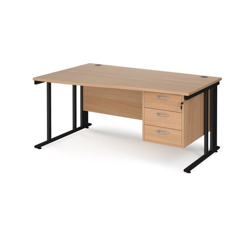 Maestro 25 left hand wave desk 1600mm wide with 3 drawer pedestal - black cable managed leg frame and beech top