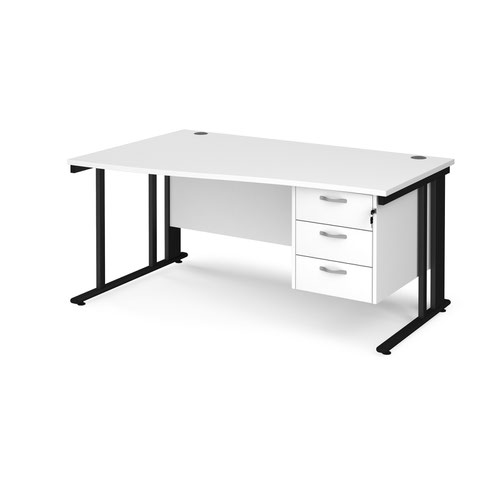 Maestro 25 left hand wave desk 1600mm wide with 3 drawer pedestal - black cable managed leg frame and white top
