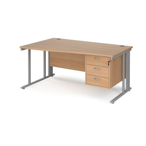 Maestro 25 left hand wave desk 1600mm wide with 3 drawer pedestal - silver cable managed leg frame and beech top
