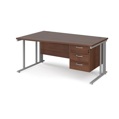 Maestro 25 left hand wave desk 1600mm wide with 3 drawer pedestal - silver cable managed leg frame and walnut top