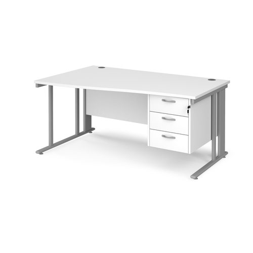 Maestro 25 left hand wave desk 1600mm wide with 3 drawer pedestal - silver cable managed leg frame and white top