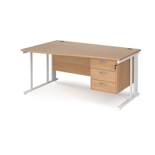 Maestro 25 left hand wave desk 1600mm wide with 3 drawer pedestal - white cable managed leg frame and beech top