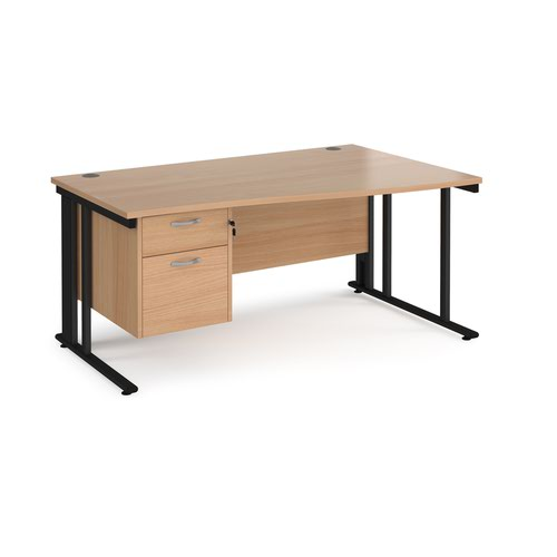 Maestro 25 right hand wave desk 1600mm wide with 2 drawer pedestal - black cable managed leg frame and beech top