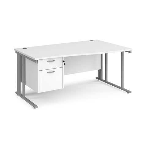 Maestro 25 cable managed right hand wave desk with 2 drawer ped