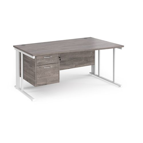 Maestro 25 right hand wave desk 1600mm wide with 2 drawer pedestal - white cable managed leg frame and grey oak top