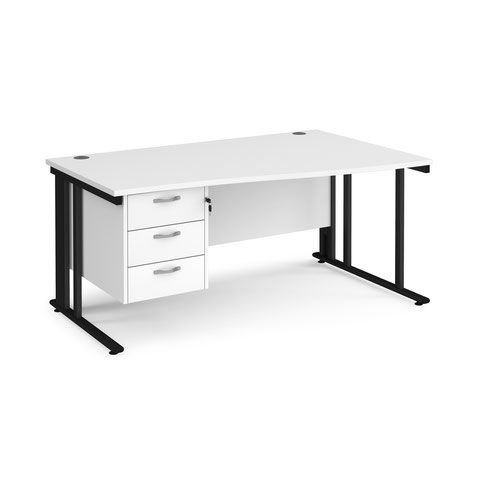 Maestro 25 right hand wave desk 1600mm wide with 3 drawer pedestal - black cable managed leg frame and white top