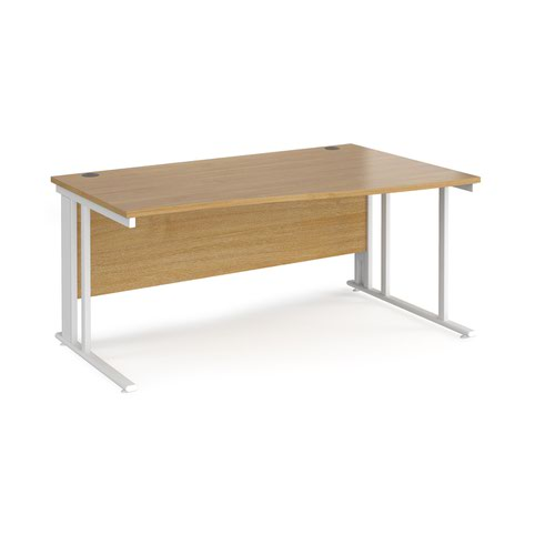 Maestro 25 right hand wave desk 1600mm wide - white cable managed leg frame and oak top