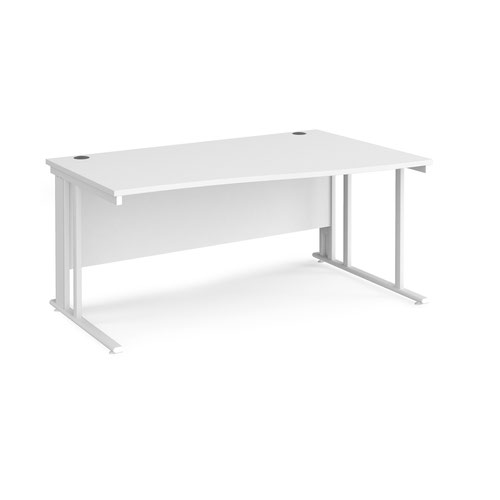 Maestro 25 right hand wave desk 1600mm wide - white cable managed leg frame and white top