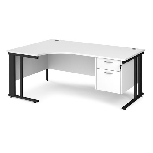 Maestro 25 left hand ergonomic desk 1800mm wide with 2 drawer pedestal - black cable managed leg frame and white top