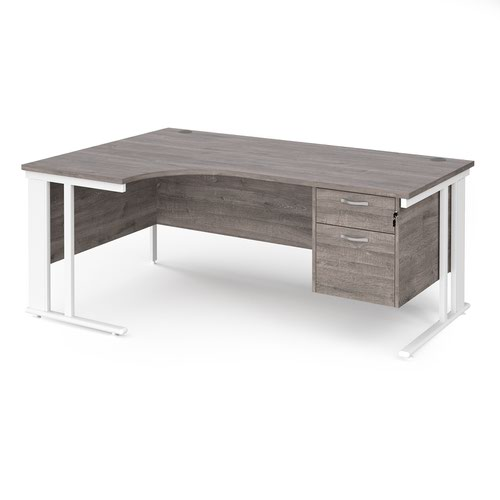 Maestro 25 left hand ergonomic desk 1800mm wide with 2 drawer pedestal - white cable managed leg frame and grey oak top