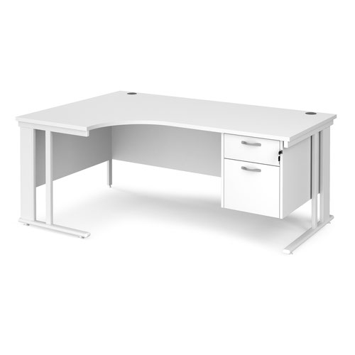 Maestro 25 left hand ergonomic desk 1800mm wide with 2 drawer pedestal - white cable managed leg frame and white top