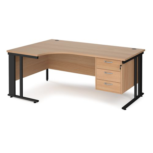 Maestro 25 left hand ergonomic desk 1800mm wide with 3 drawer pedestal - black cable managed leg frame and beech top
