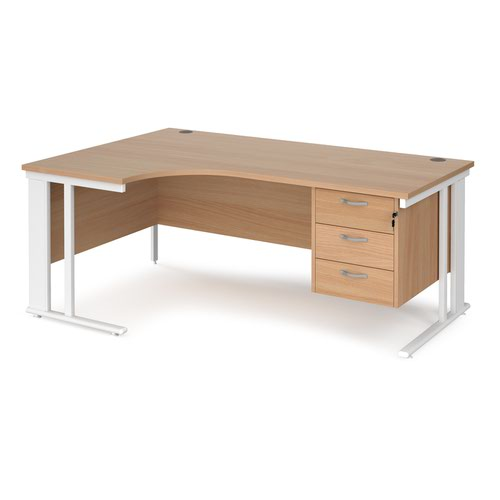 Maestro 25 left hand ergonomic desk 1800mm wide with 3 drawer pedestal - white cable managed leg frame and beech top