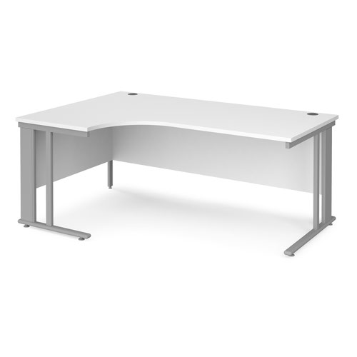 Maestro 25 left hand ergonomic desk 1800mm wide - silver cable managed leg frame and white top