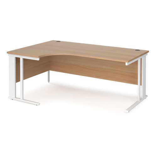Maestro 25 left hand ergonomic desk 1800mm wide - white cable managed leg frame and beech top