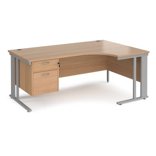Maestro 25 right hand ergonomic desk 1800mm wide with 2 drawer pedestal - silver cable managed leg frame and beech top