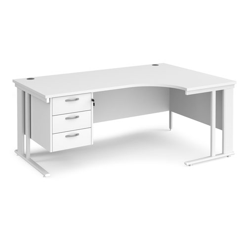 Maestro 25 right hand ergonomic desk 1800mm wide with 3 drawer pedestal - white cable managed leg frame and white top