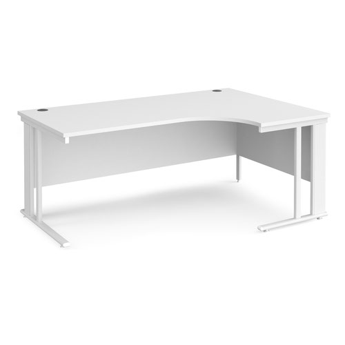 Maestro 25 right hand ergonomic desk 1800mm wide - white cable managed leg frame and white top