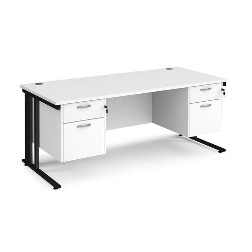 Maestro 25 straight desk 1800mm x 800mm with two x 2 drawer pedestals - black cable managed leg frame and white top