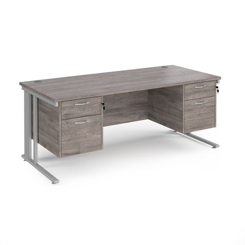 Maestro 25 straight desk 1800mm x 800mm with two x 2 drawer pedestals - silver cable managed leg frame and grey oak top