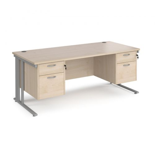 Maestro 25 straight desk 1800mm x 800mm with two x 2 drawer pedestals - silver cable managed leg frame and maple top