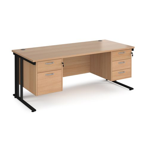 Maestro 25 straight desk 1800mm x 800mm with 2 and 3 drawer pedestals - black cable managed leg frame and beech top