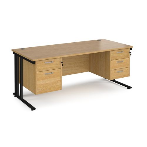 Maestro 25 straight desk 1800mm x 800mm with 2 and 3 drawer pedestals - black cable managed leg frame and oak top