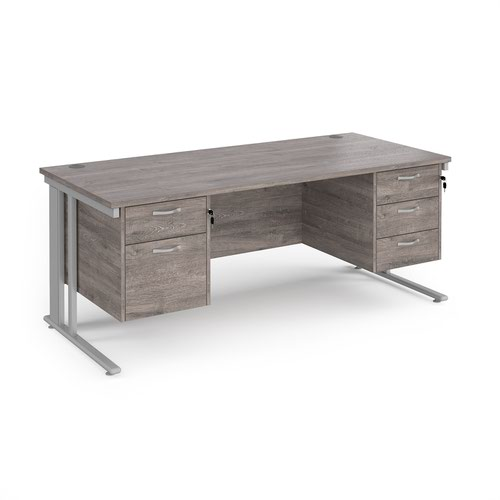 Maestro 25 straight desk 1800mm x 800mm with 2 and 3 drawer pedestals - silver cable managed leg frame and grey oak top