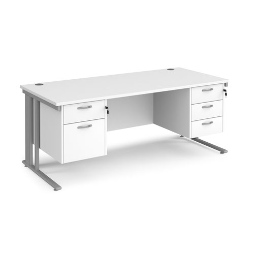 Maestro 25 straight desk 1800mm x 800mm with 2 and 3 drawer pedestals - silver cable managed leg frame and white top