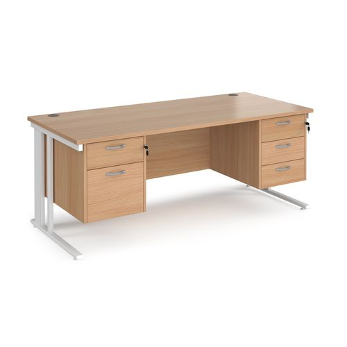 Maestro 25 straight desk 1800mm x 800mm with 2 and 3 drawer pedestals - white cable managed leg frame and beech top