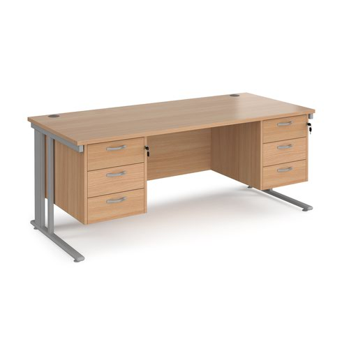 Maestro 25 straight desk 1800mm x 800mm with two x 3 drawer pedestals - silver cable managed leg frame and beech top