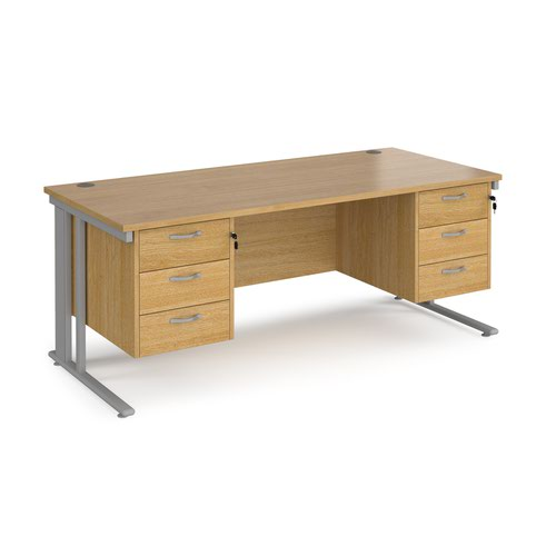 Maestro 25 straight desk 1800mm x 800mm with two x 3 drawer pedestals - silver cable managed leg frame and oak top
