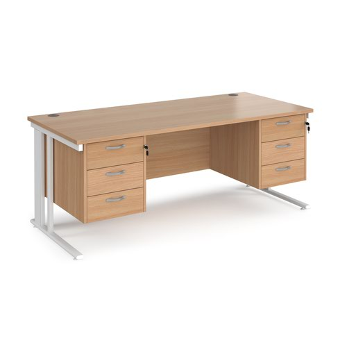 Maestro 25 straight desk 1800mm x 800mm with two x 3 drawer pedestals - white cable managed leg frame and beech top